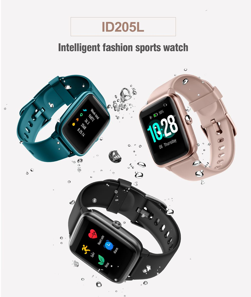 Makibes ID205L 1.3 Inch Smartwatch IP68 Waterproof Heart Rate Sleep Monitor Stopwatch - Black