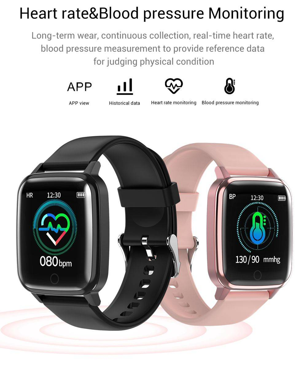 Makibes R1 SmartWatch 1.3 Inch IPS Screen IP67 Water Resistant Heart Rate Blood Pressure Sleep Monitor Fitness Tracker - Pink