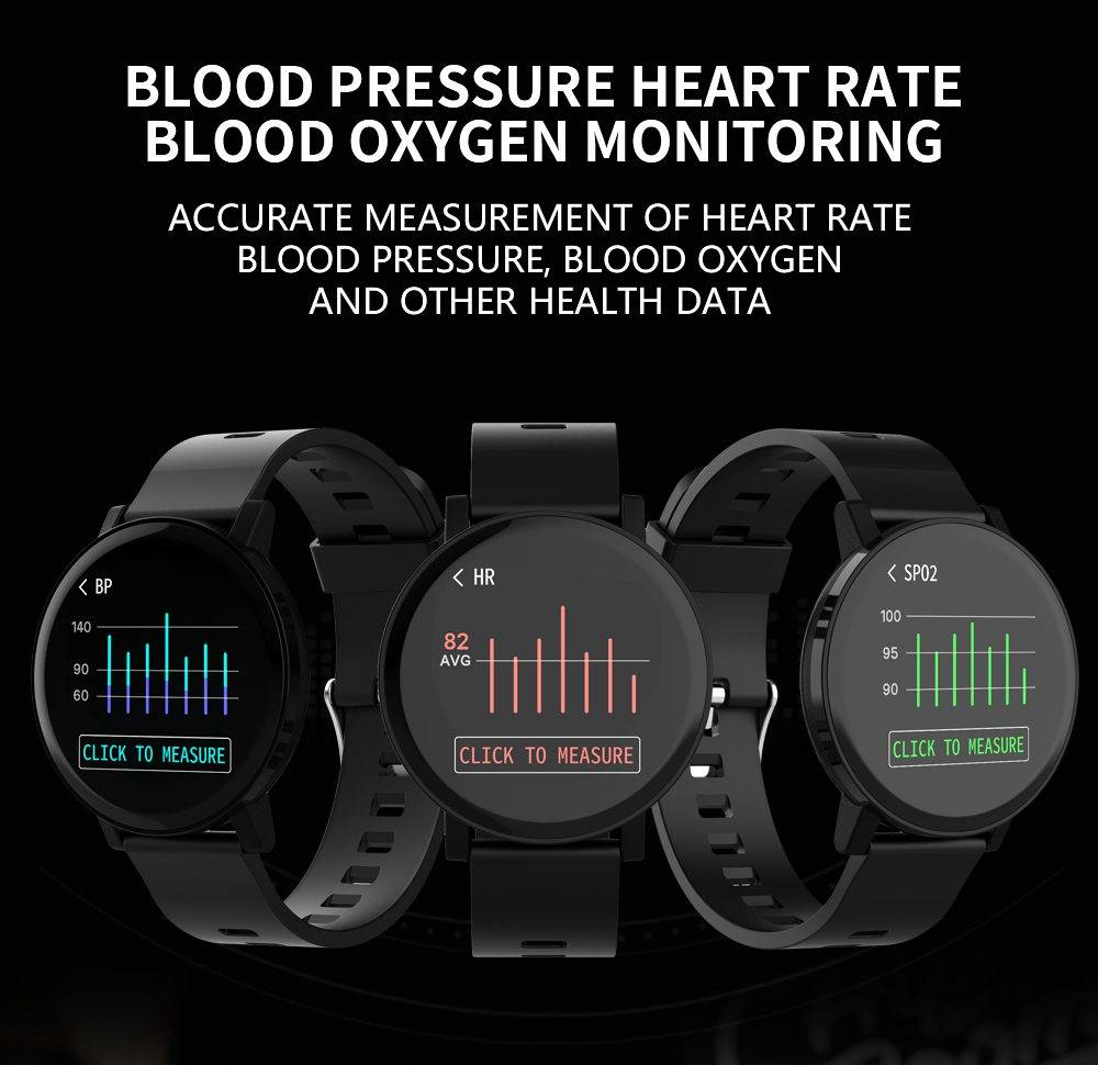 Makibes T10 SmartWatch 1.3 Inch IPS Screen IP68 Water Resistant Heart Rate Blood Pressure Monitor Fitness Tracker - Black