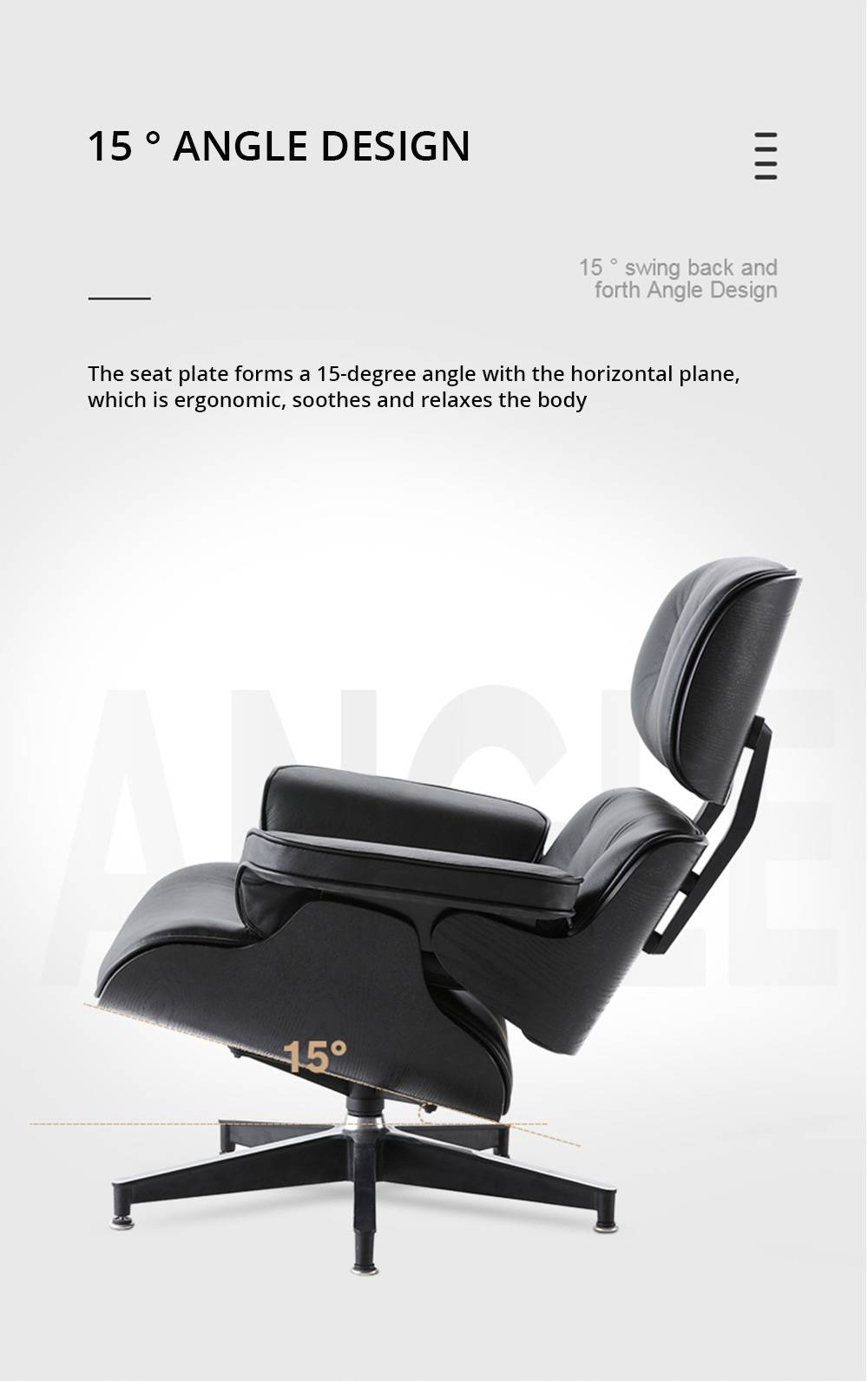 Makibes TY303 Lounge Chair With Pedal Seat Adjustable Rotatable Leather Chair For Office Home - Black