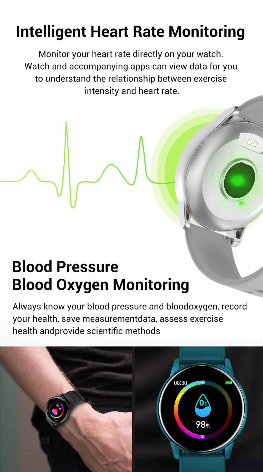 Model-zl01 SmartWatch 1.3 Inch IPS HD Screen IP67 Bluetooth 4.0 Heart Rate Blood Pressure Monitor - White