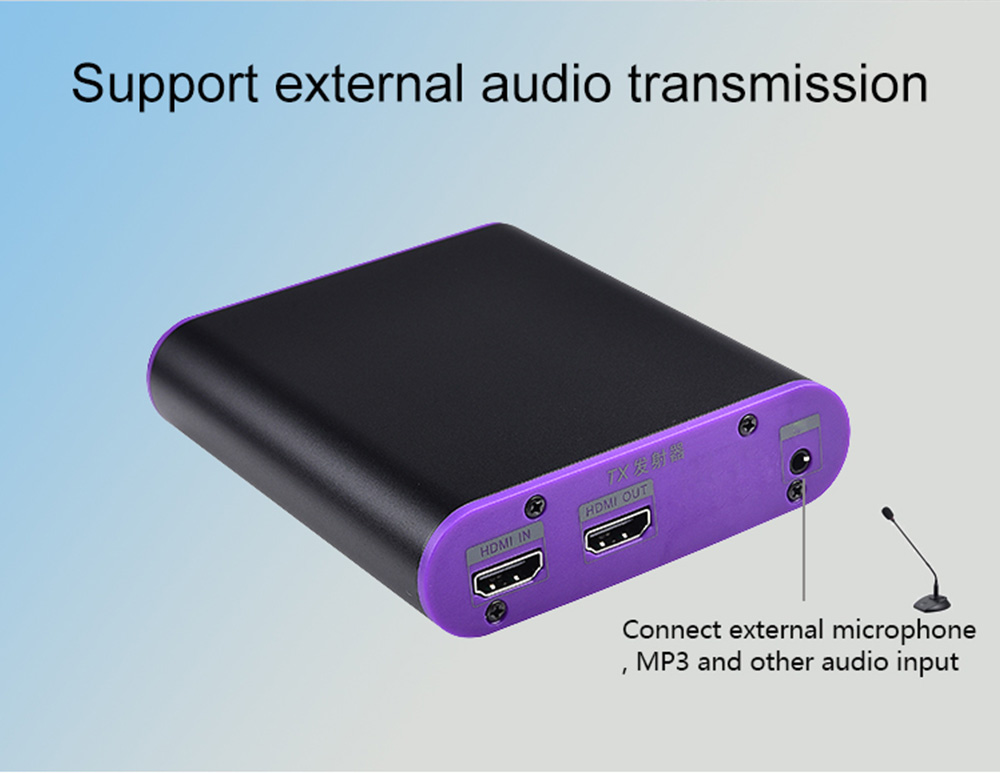 Measy CAT871-KVM 200m Optical Fiber Ethernet Extender 1080p 60Hz HD Audio Video Transmitter Receiver EU Plug - Black / Purple