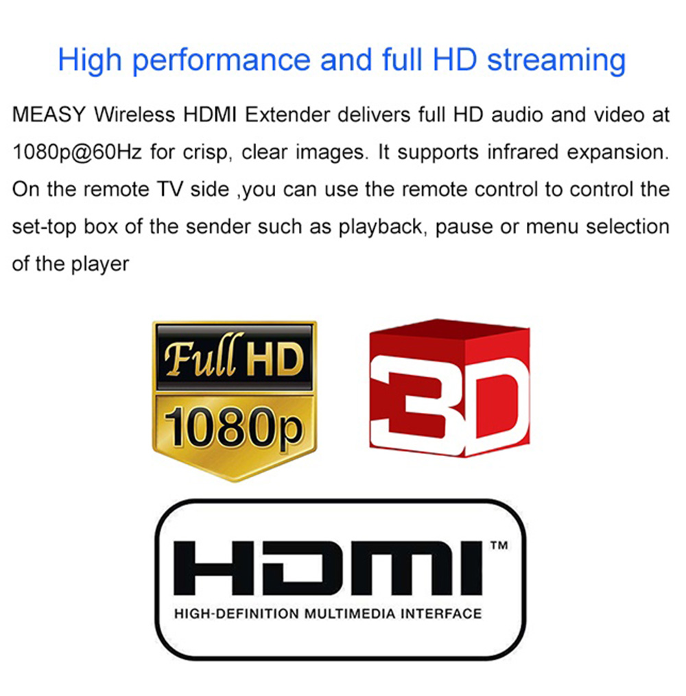 Measy FHD686 Wireless HDMI Extender 1080P HD 5.8G 200M AV TV HD Audio Video Sender Transmitter Receiver EU Plug - Black