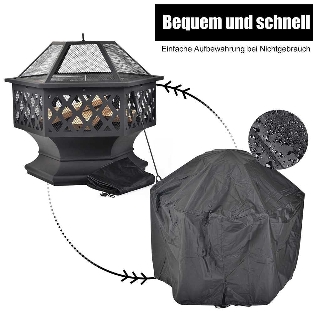 Merax BBQ Fire Pit Hexagonal Multifunctional With Spark Protection Garden Metal Fire Basket - Black