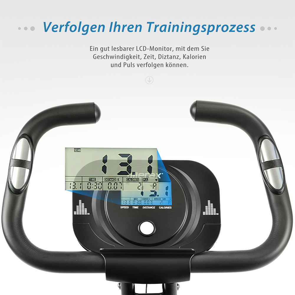 Merax X-Bike Magnetic Folding Fitness Bike 2.5 kg Flywheel LCD Display For Cardio Workout Cycling - Black