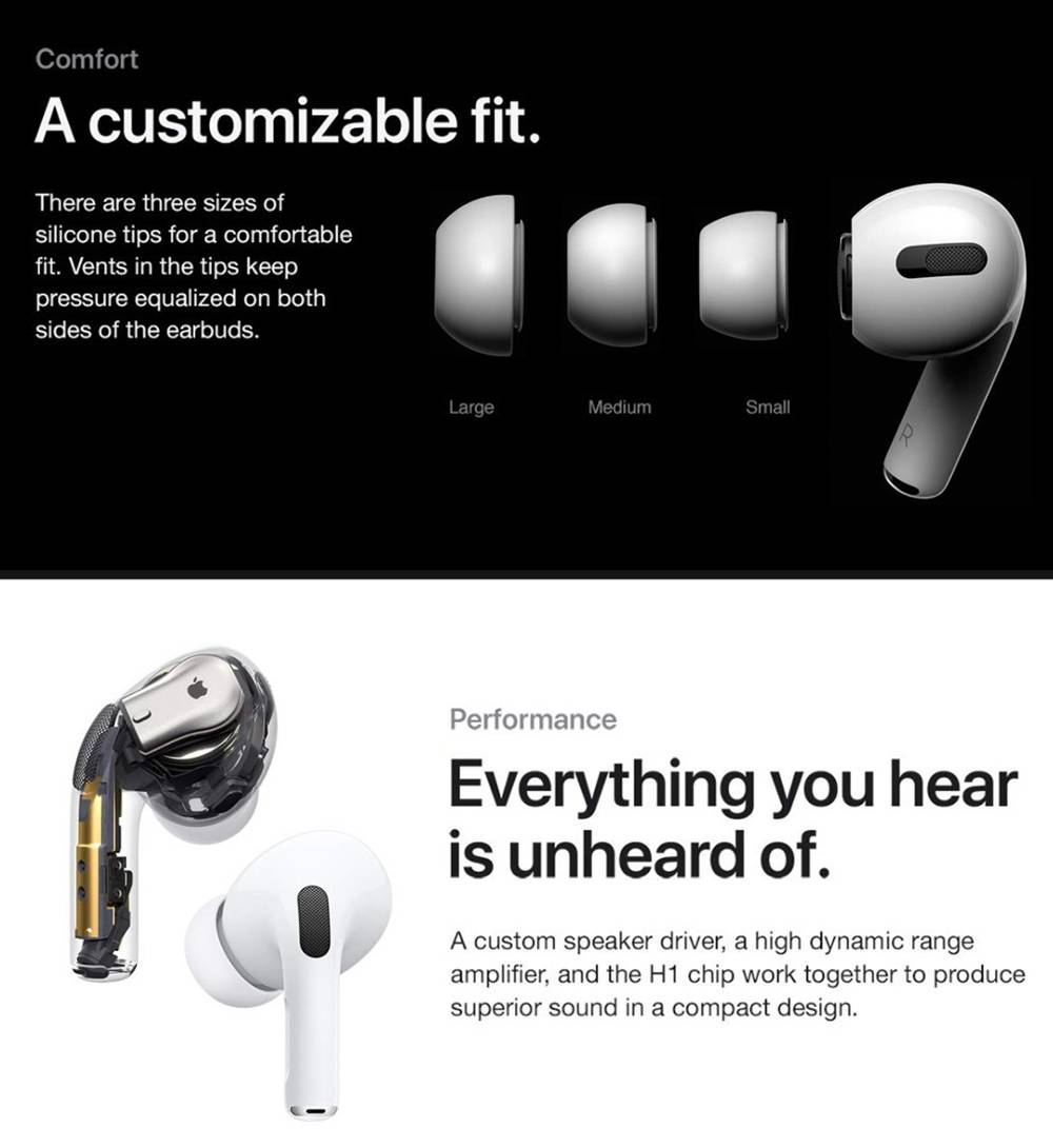 Apple AirPods Pro Bluetooth 5.0 True Wireless Earphone H1 chip Transparency Mode QI charging - White