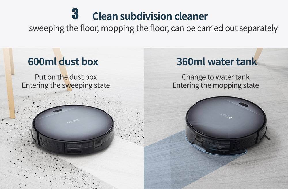 Proscenic 800T Robot Vacuum Cleaner 1800Pa Strong Suction Alexa and App Control 2 In 1 Sweeping Mopping Function - Black