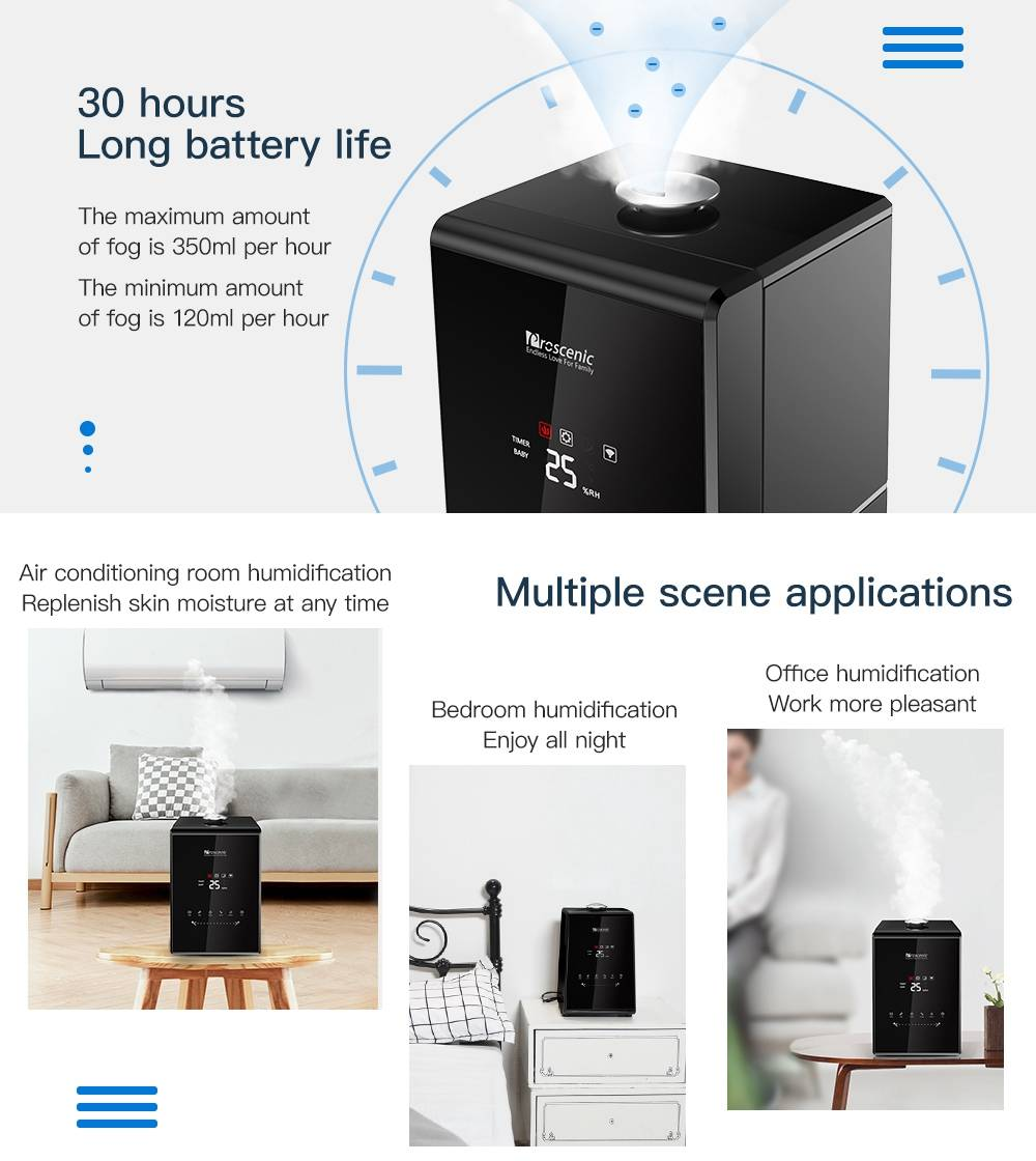 Proscenic 807C Humidifier 5.5L App Control Alexa Voice Control Adjustable 7 Modes Aromatherapy Machine - Black