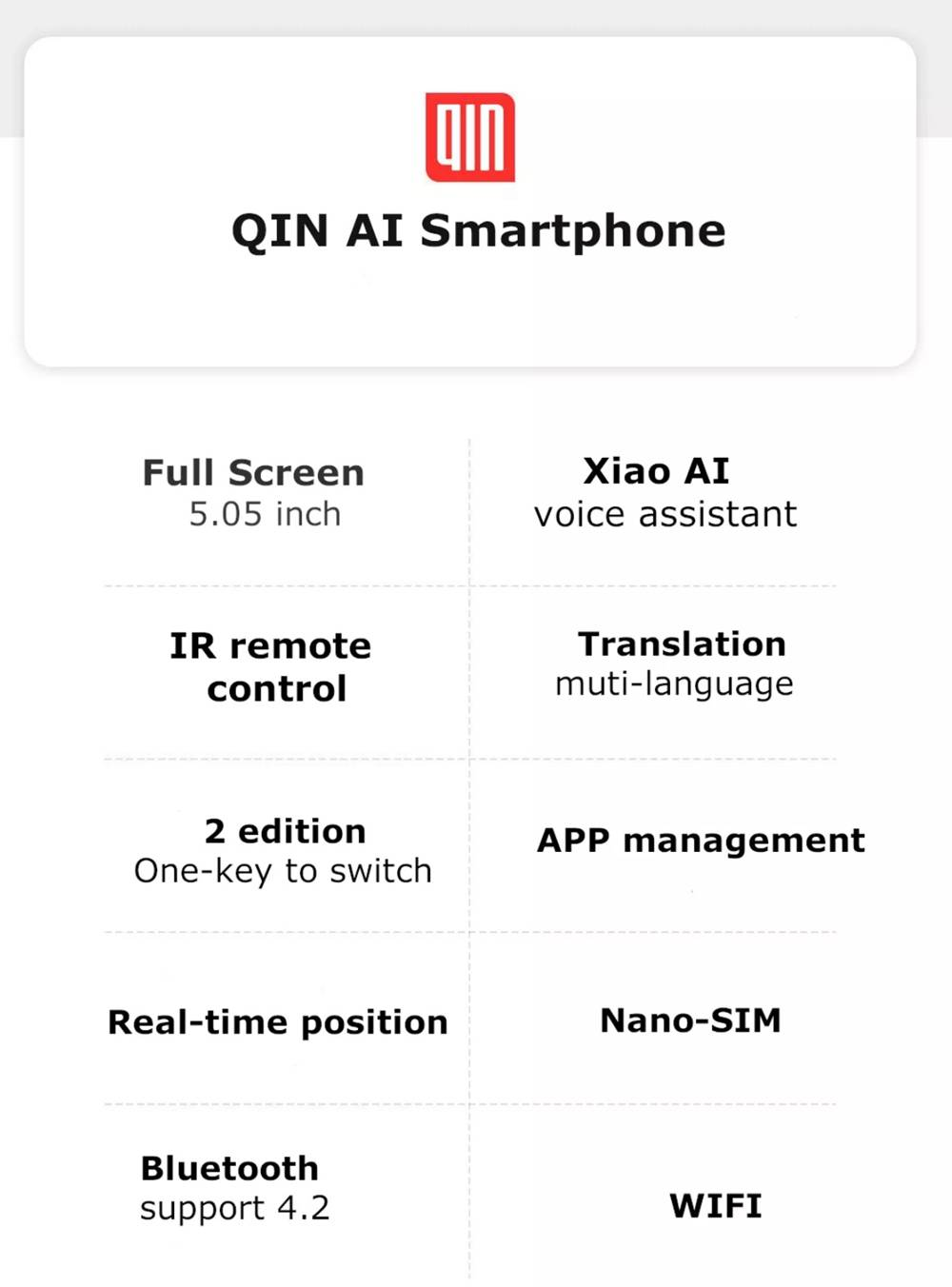 QIN Full Screen Bar Phone 4G LTE 5.05 Inch FHD+ Screen 1GB RAM 32GB ROM Android 9.0 - Gray