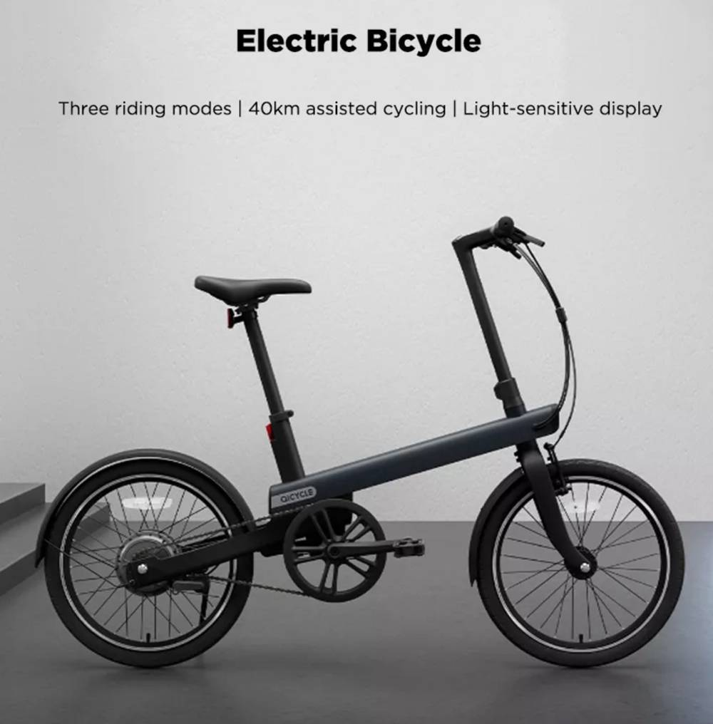 QiCYCLE TDP02Z Moped Electric Bike 20 Inch Tires 180W Motor Up To 40km Range Light-Sensitive Display - Black