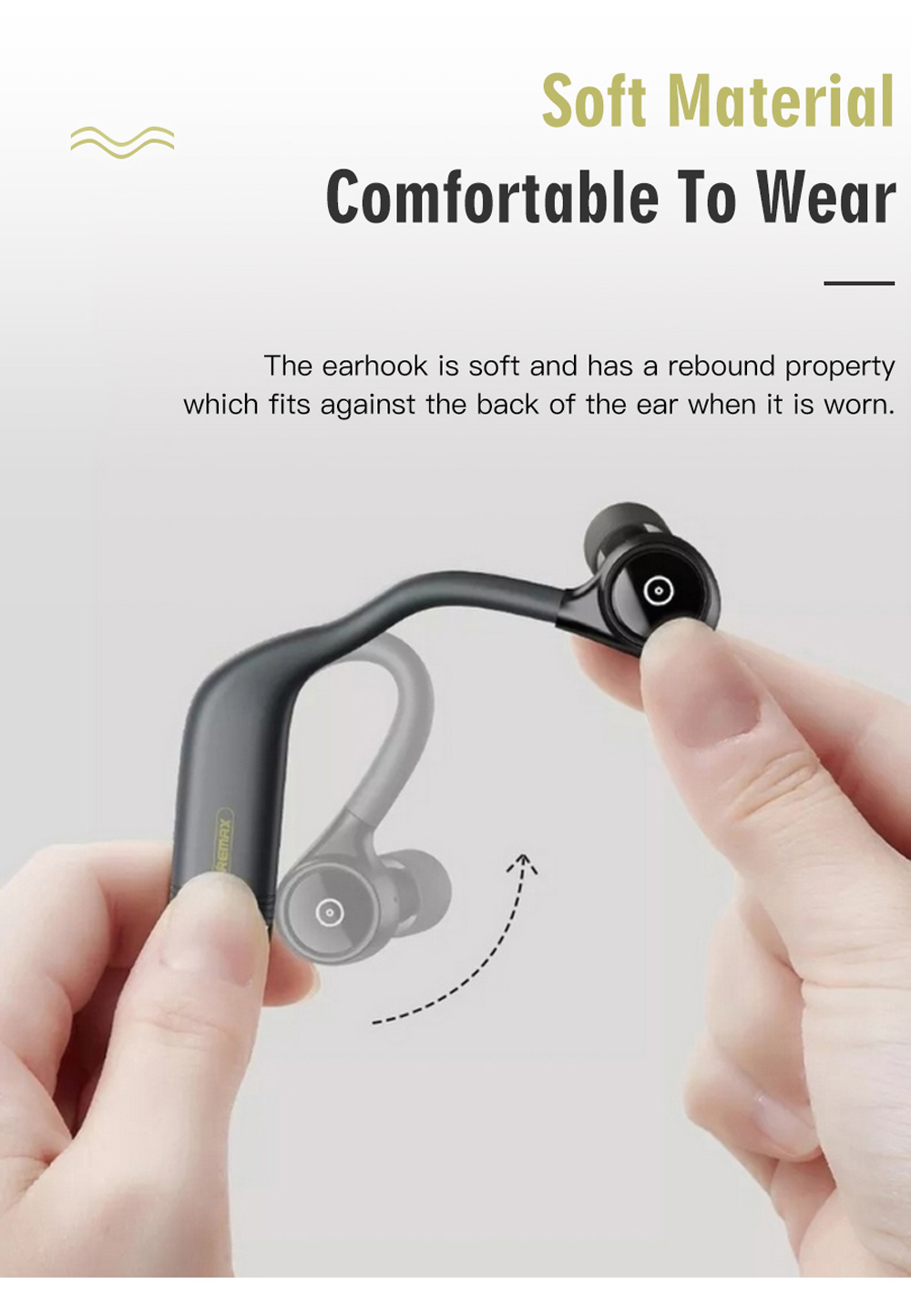 Remax TWS-13 Bluetooth 5.0 True Wireless Sports Earphones Binaural Call Independent Usage 15 Hours Playtime - Black