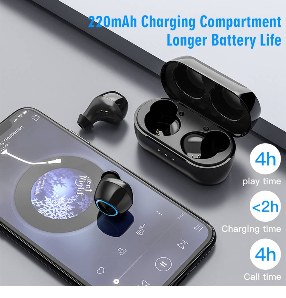 Remax TWS-16 Bluetooth 5.0 True Wireless Earphones Siri Binaural Call 4 Hours Playtime - Black