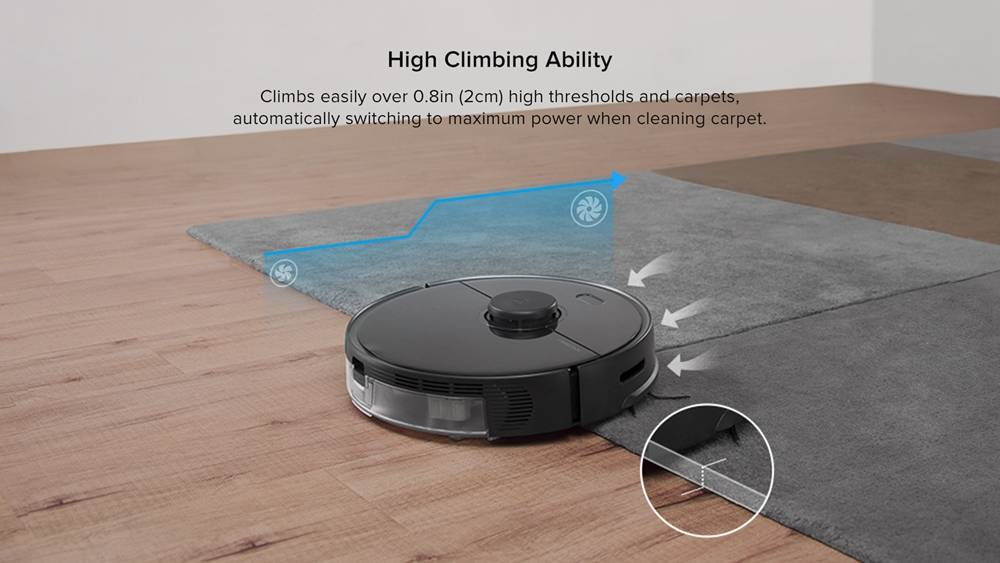 Roborock S5 Max Robot Vacuum Cleaner Virtual Wall Automatic Area Cleaning 2000pa Suction 2 in 1 Sweeping Mopping Function LDS Path Planning International Version - Black