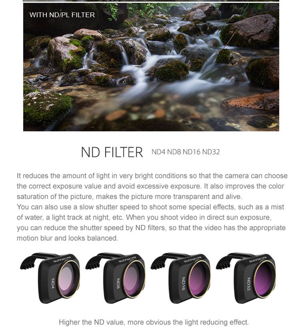 Sunnylife RC Aircraft Expansion Spare Parts ND4/ND8/ND16/ND32 Camera Filter Lens Set For DJI Mavic MINI