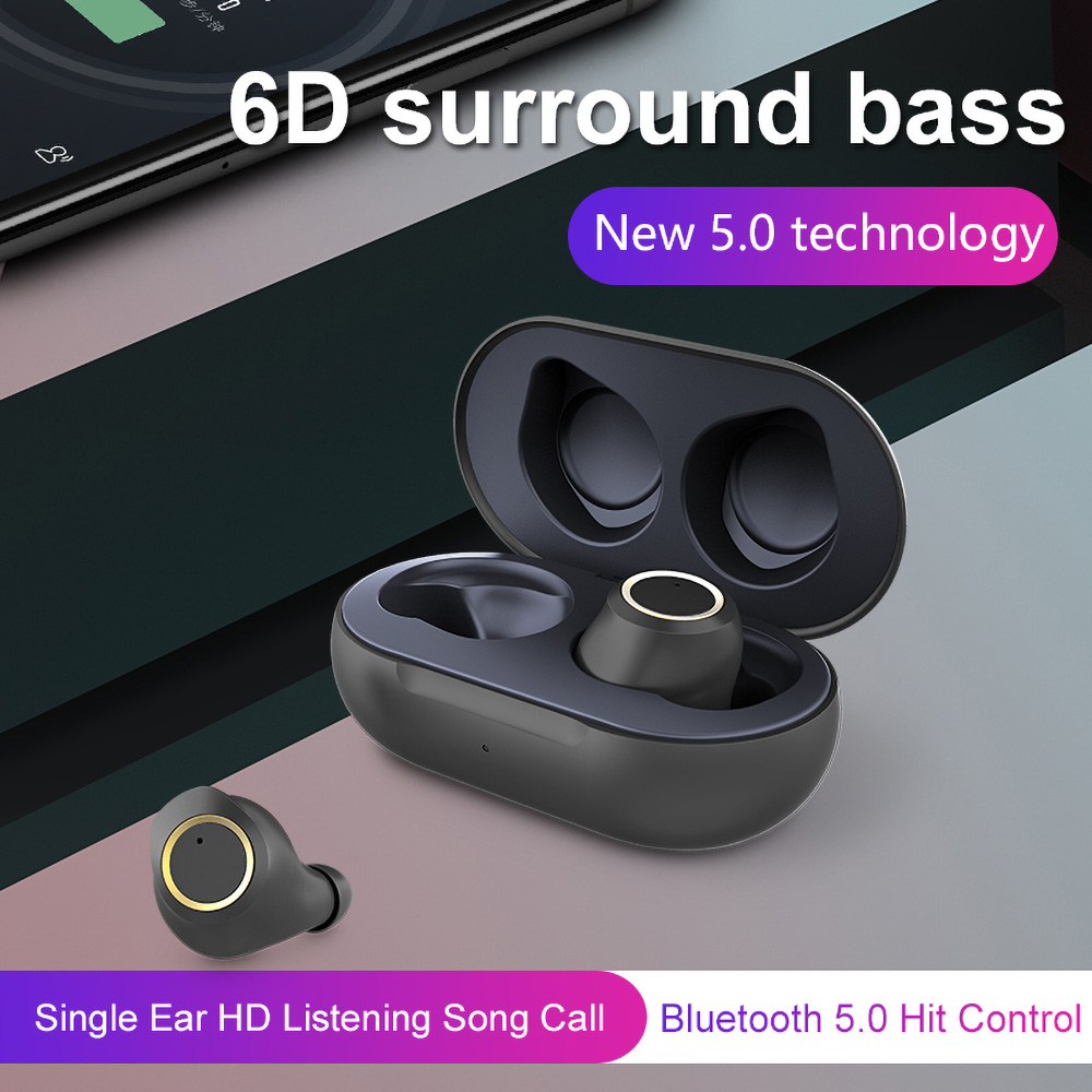 T2 Bluetooth 5.0 6D Stereo Sound TWS Earphones Siri Independent Usage Type-C IPX5 - Black