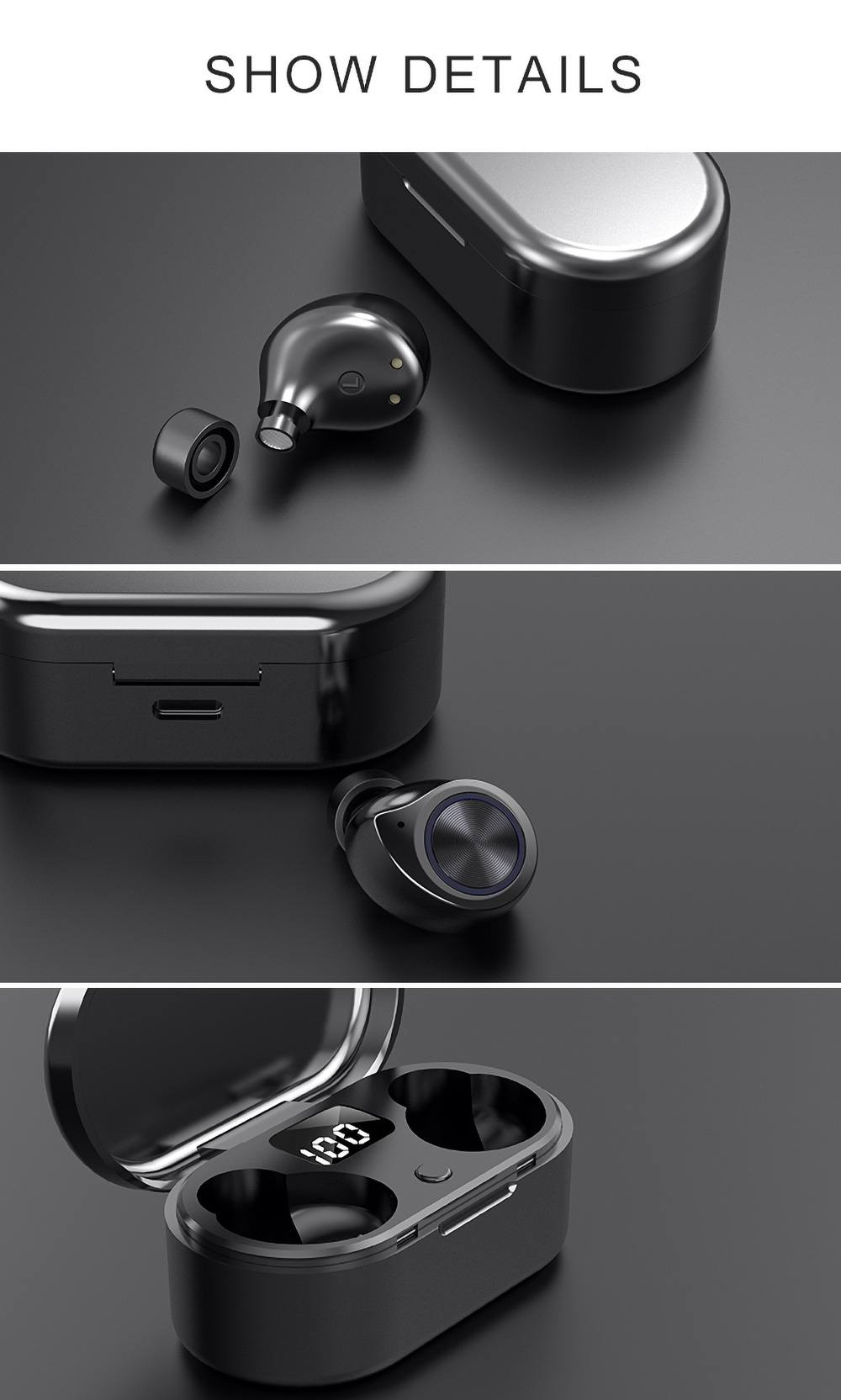 TW80 Bluetooth 5.0 True Wireless Earphones Siri LED Power Display 3.5 Hours Playtime - Black