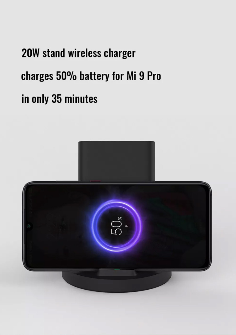 Xiaomi Wireless Charger 20W Vertical Horizontal  Stand Holder For Xiaomi Mi 9 / Mi 9 Pro - Black