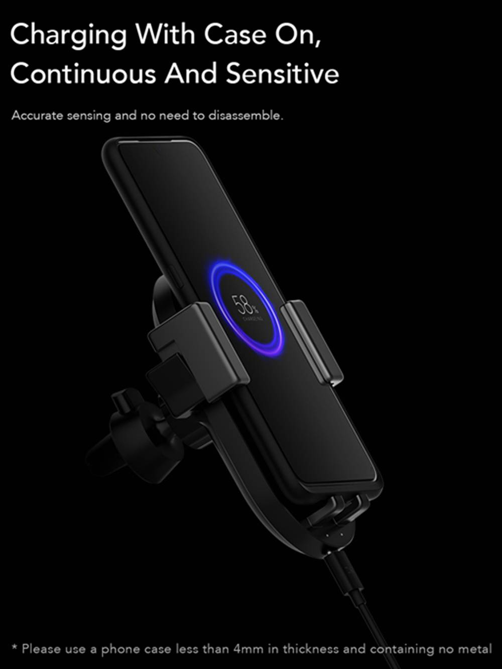ZMI WCJ10 20W Wireless Car Fast Charger 360 Degree Rotating With Phone Holder For Mobile Phone - Black