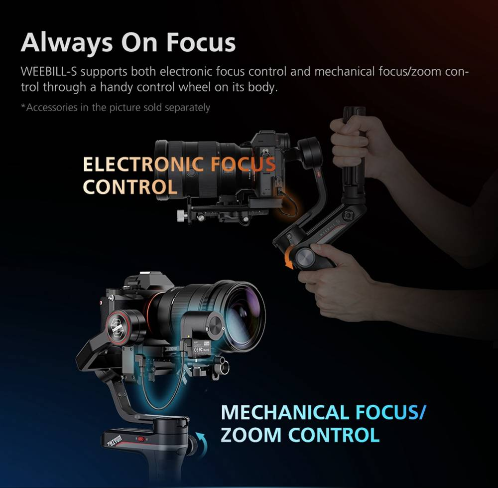 Zhiyun WEEBILL S Tiny Giant DSLR Mirrorless Camera 3axis Handheld Stabilizer Gimbal - Zoom Focus PRO Version