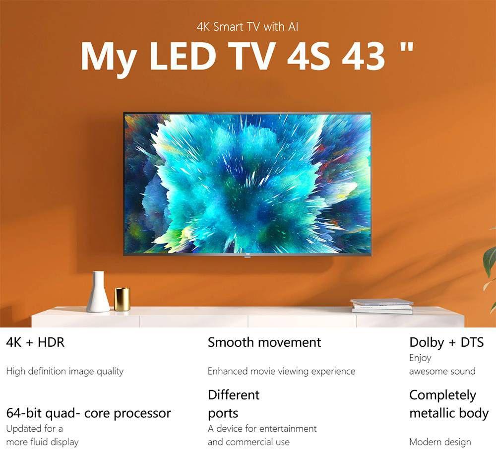 Xiaomi Mi TV 4S 43'' Netflix Amazon Prime Video Certified DVB-T2/C Android 9.0 Dolby DTS Smart UHD TV Voice Remote Chromecast 2GB/8GB 2.4G/5G WIFI HDMI*3 USB*2 - Black