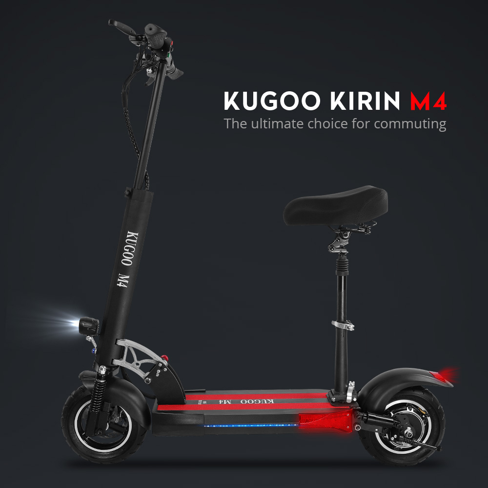 "KUGOO KIRIN M4 Folding Electric Offroad Scooter 10"" Pneumatic Tires 500W Brushless Motor 3 Speed Modes Dual Disc Brake Max Speed 43KM/h LED Display 45KM Long Range - Black"