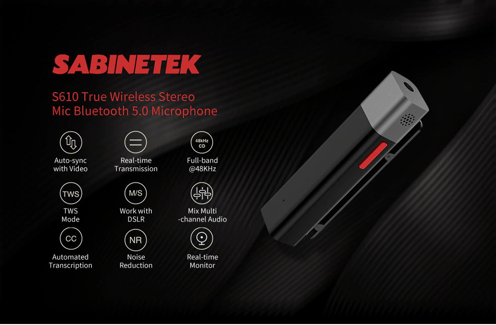 SABINETEK S610 SmartMike+ True Wireless Bluetooth HD Microphone Multi-channel Lavalier Real-time Transmission Noise Reduction - Black