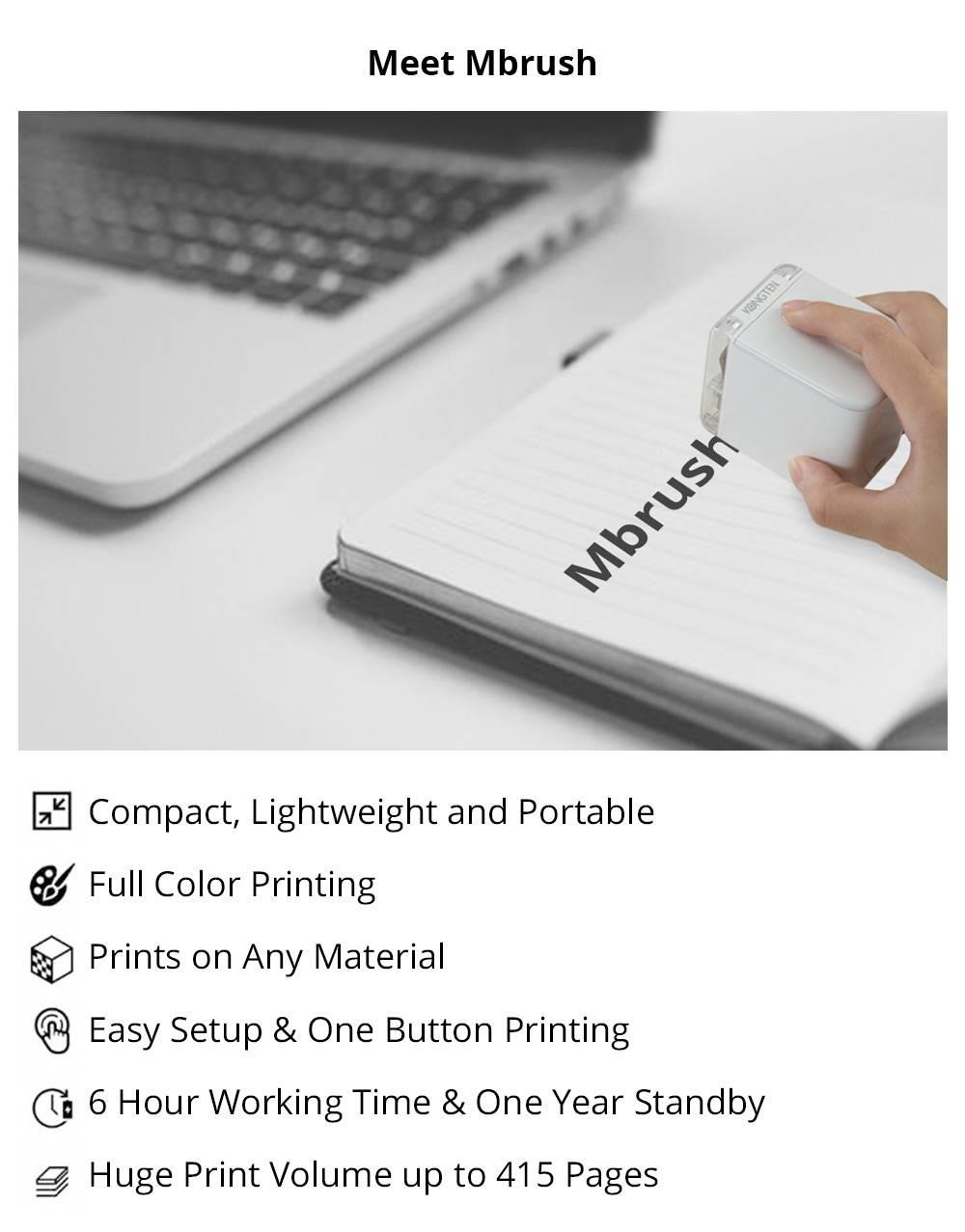 Mbrush Mobile Color Printer Portable Handheld Printer, Support WIFI USB Connection, 6 Hours Working Time, Print On Any Material - White