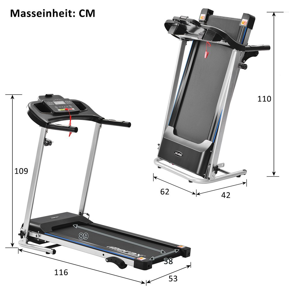 Merax Folding Electric Treadmill 500W Motor Speed Up To 12km/h 12 Automatic Programs 3 Incline Levels LCD Display - Black