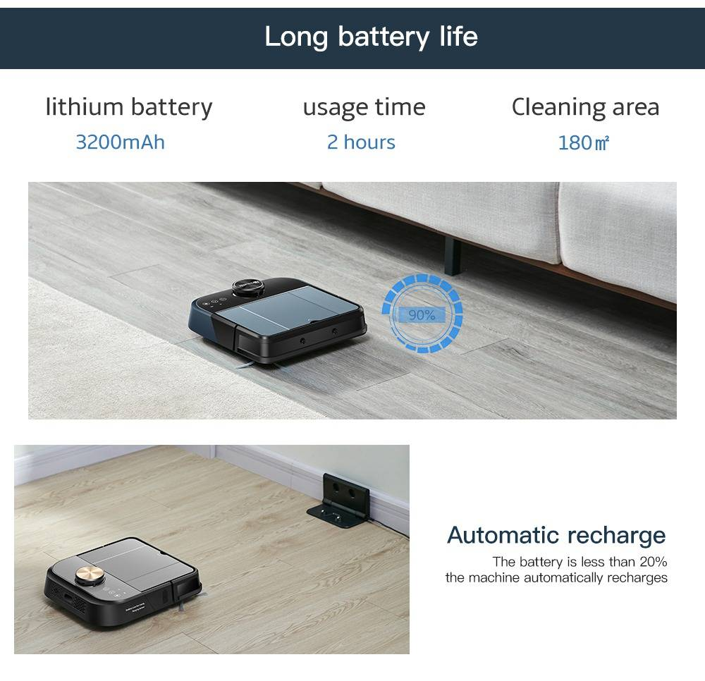 Proscenic D500 Robot Vacuum Cleaner LDS Laser Navigation 2000Pa Strong Suction Alexa and App Control - Black