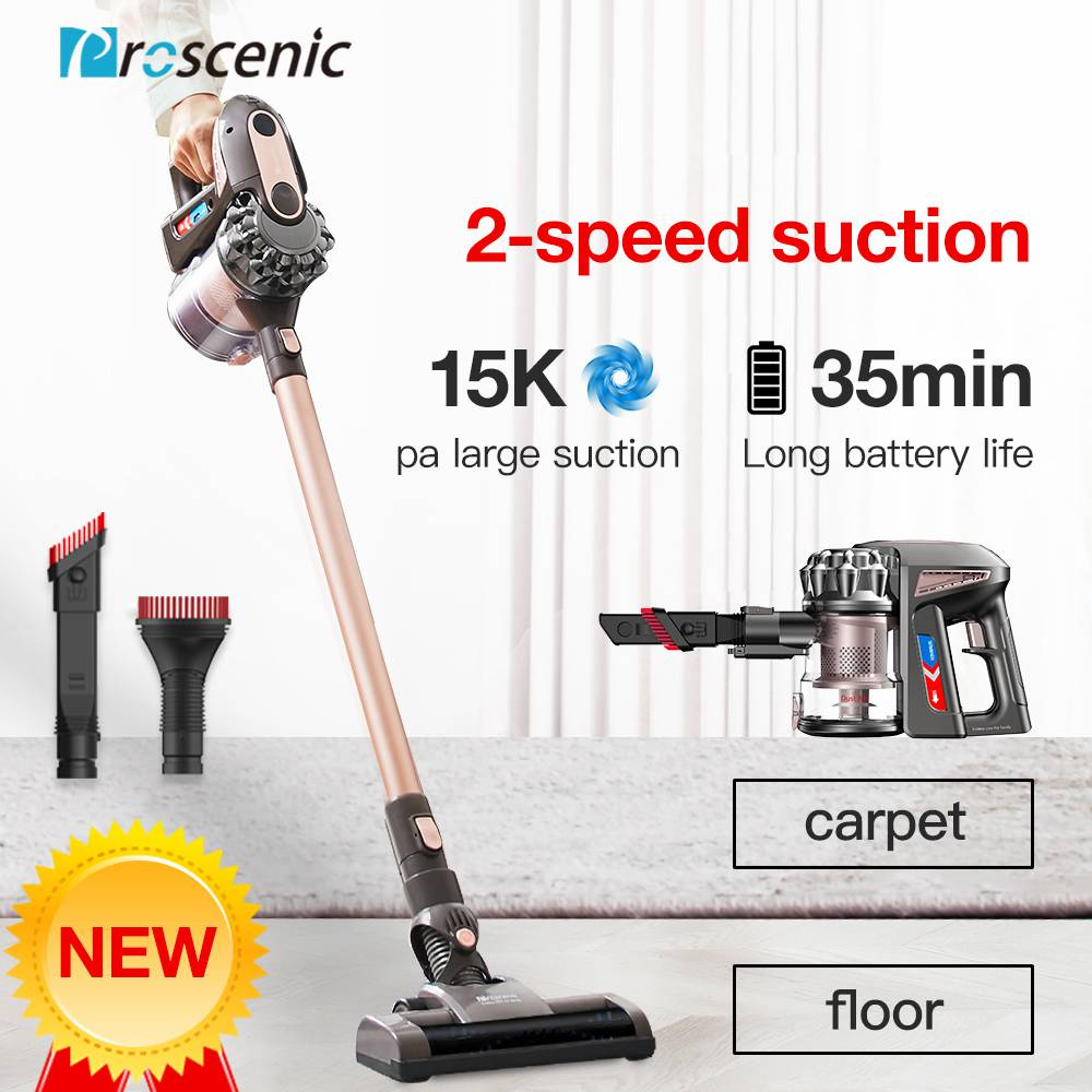 Proscenic P8 Plus Wireless Handheld Stick Vacuum Cleaner 15000Pa Powerful Suction 35 Minutes Running Time Anti-winding Hair Mite 2-in-1 Stick Vacuum - Gold
