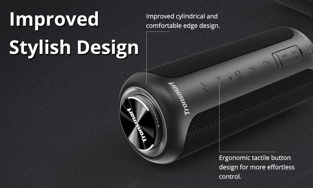 Tronsmart T6 Plus Upgraded Edition Bluetooth 5.0 40W Speaker NFC Connection 15 Hours Playtime IPX6 USB Charge Out - Black