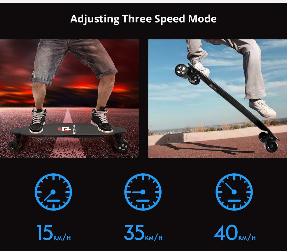 RDZ 07 Electric Skateboard Dual 600W Motors 6600mAh Battery Max Speed 40km/h With Remote Control - Black