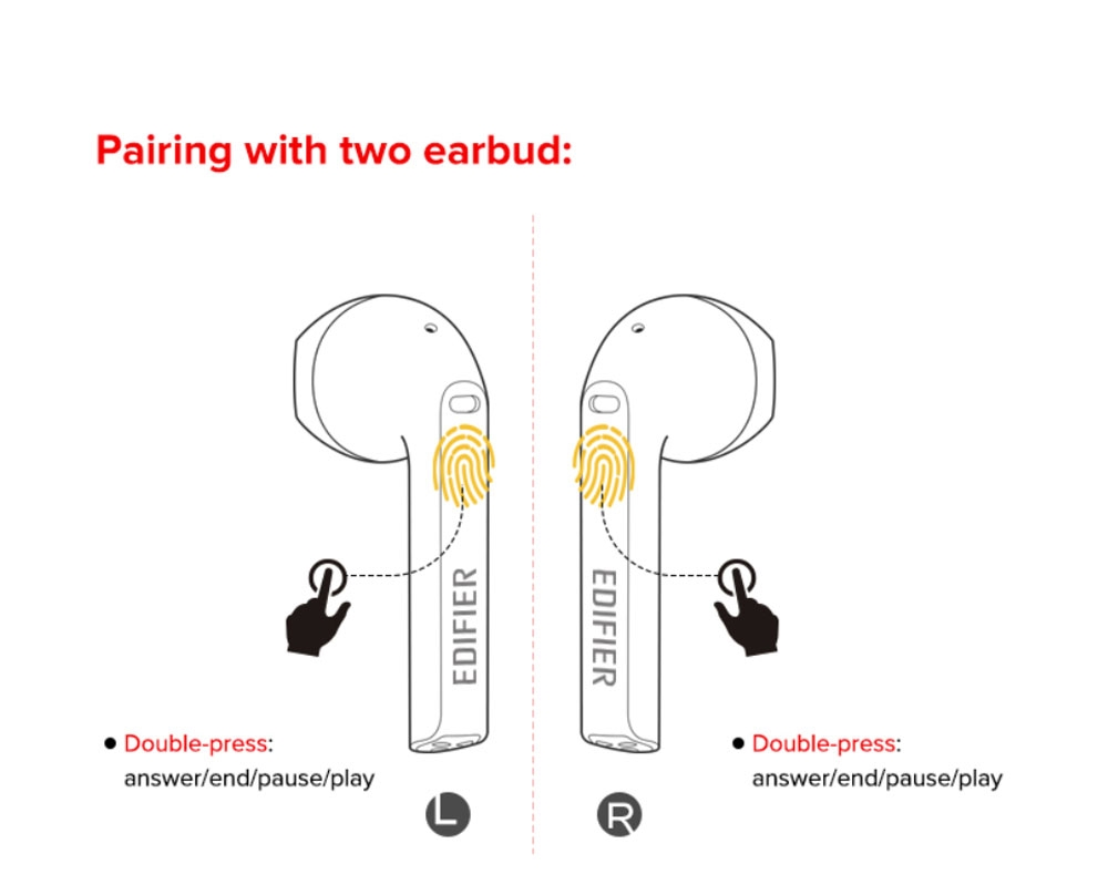 EDIFIER TWS200 Bluetooth 5.0 Earphones CVC8.0 Qualcomm QCC3020 with LDS Antenna aptX/AAC/SBC Google Assistant Siri 24Hours Playback Time - White