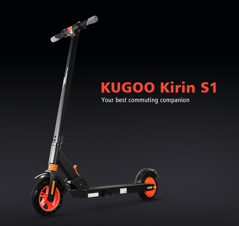 "KUGOO KIRIN S1 Electric Scooter 8"" Tires 350W DC Brushless Motor With 3 Speed Control Max Speed 25km/h Up To 25km Range Dual Braking System APP Control - Black"