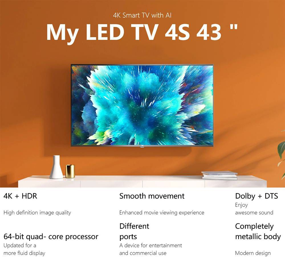 Xiaomi Mi TV 4S 43'' Smart TV DVB-T2/C Android TV Amlogic 64-bit Processor Dolby Audio DTS HD HDMI*3 USB*2 Bluetooth - Black