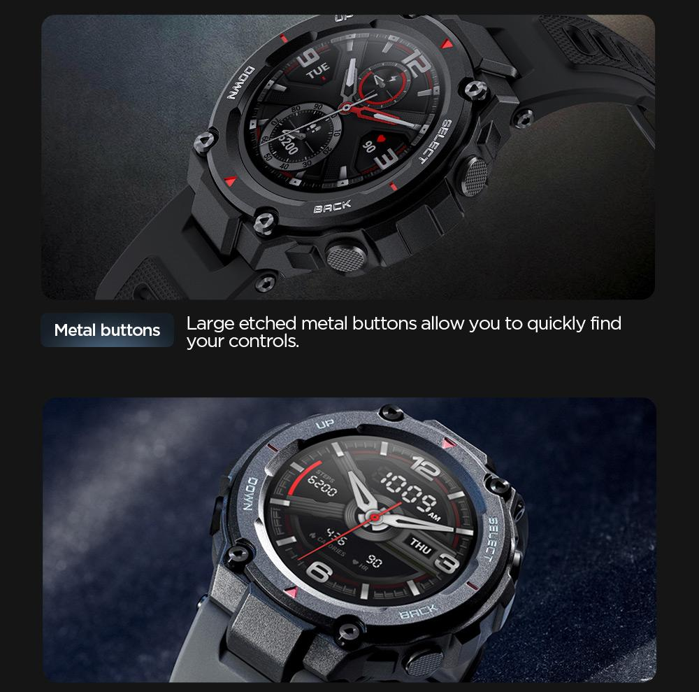 Amazfit T-rex Smartwatch 1.3 Inch Round AMOLED Screen 14 Sports Modes  5ATM Water Resistant GPS Positioning - Black