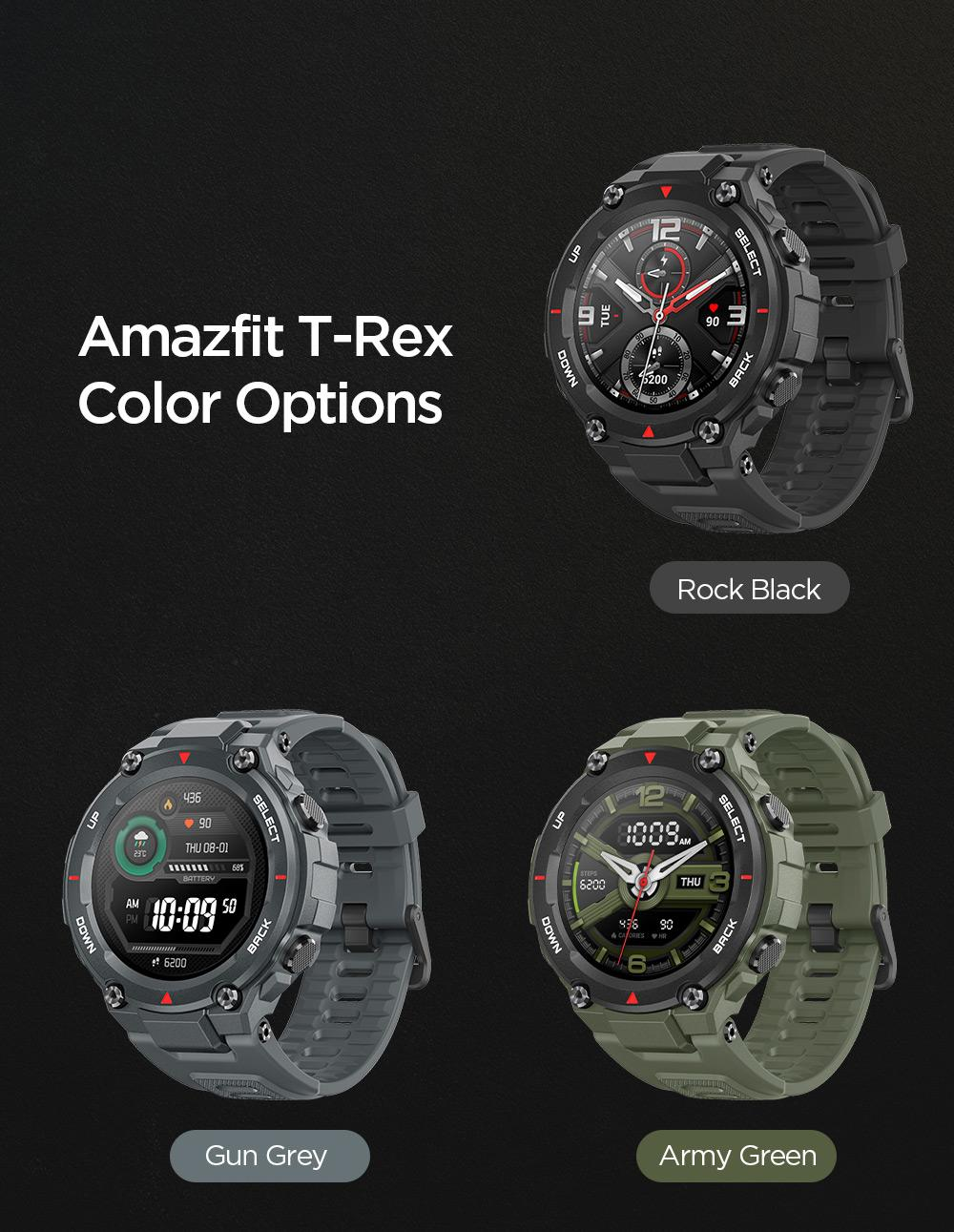 Amazfit T-rex Smartwatch 1.3 Inch Round AMOLED Screen 14 Sports Modes  5ATM Water Resistant GPS Positioning - Green