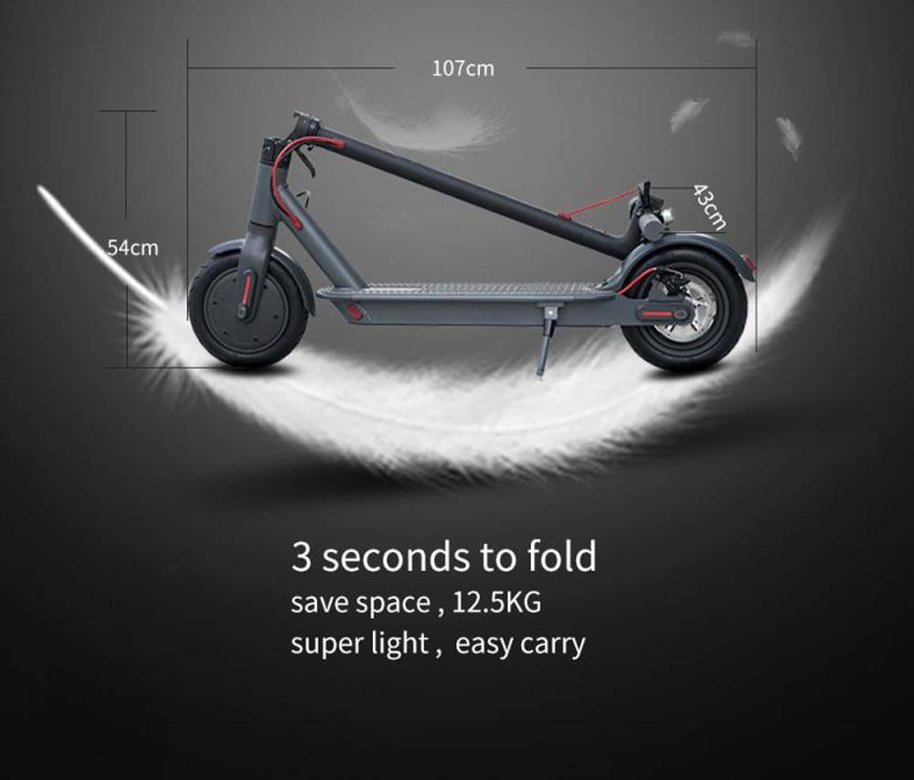 GYL020 Folding Electric Scooter 350W Motor 8.5 Inch Solid Tire Max Speed 25km/h Sine Wave Motherboard Double Brake LCD Display - Black Grey