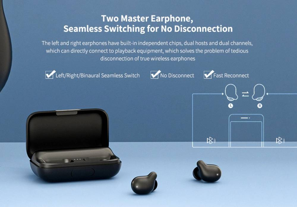 Haylou T15 TWS Wireless Bluetooth5.0 Earbuds Binaural call Smart touch HD Stereo With 2000mAh Charging box Black