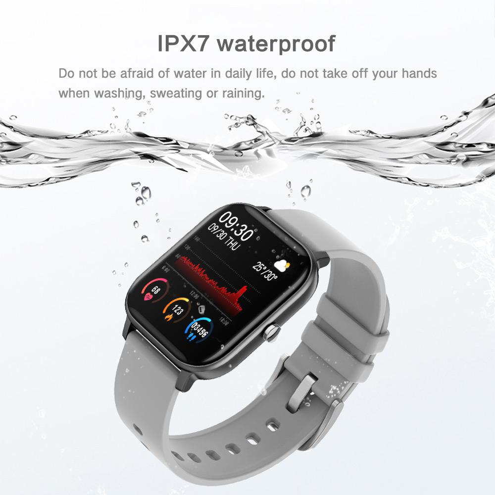 Makibes P8 Smartwatch 1.4 Inch Blood Pressure Heart Rate Blood Oxygen Sleep Monitor IPX7 Waterproof for IOS/Android - Black