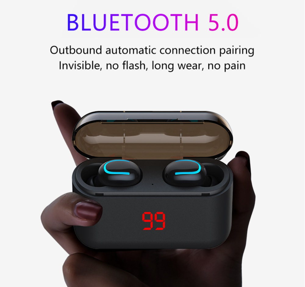 Q32 Bluetooth 5.0 True Wireless Earphones HD Binaural Call Used Independently with 1500mAh Charging Case 120 Hours Standby Time IPX5 - Black