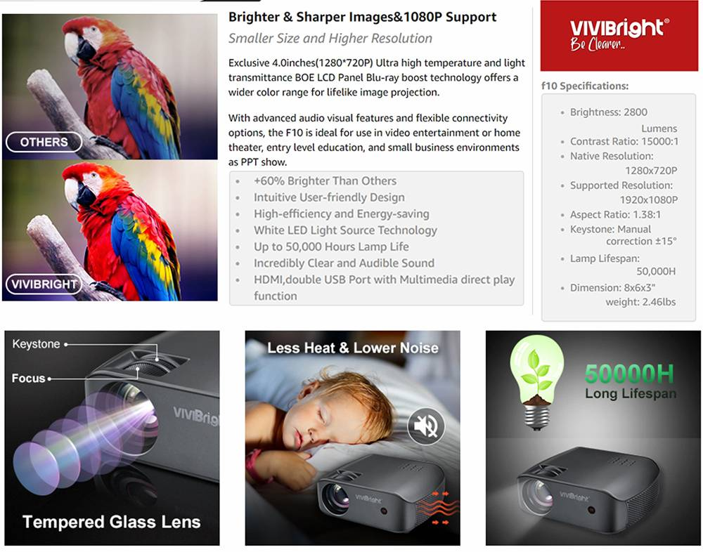 VIVIBRIGHT F10 720P LCD Projector 2800 Lumens 1080P Video Decode 15000:1 Contra Ratio 300'' Image Size HiFi Stereo Sound 5000 Hours LED Lamp Life - Black