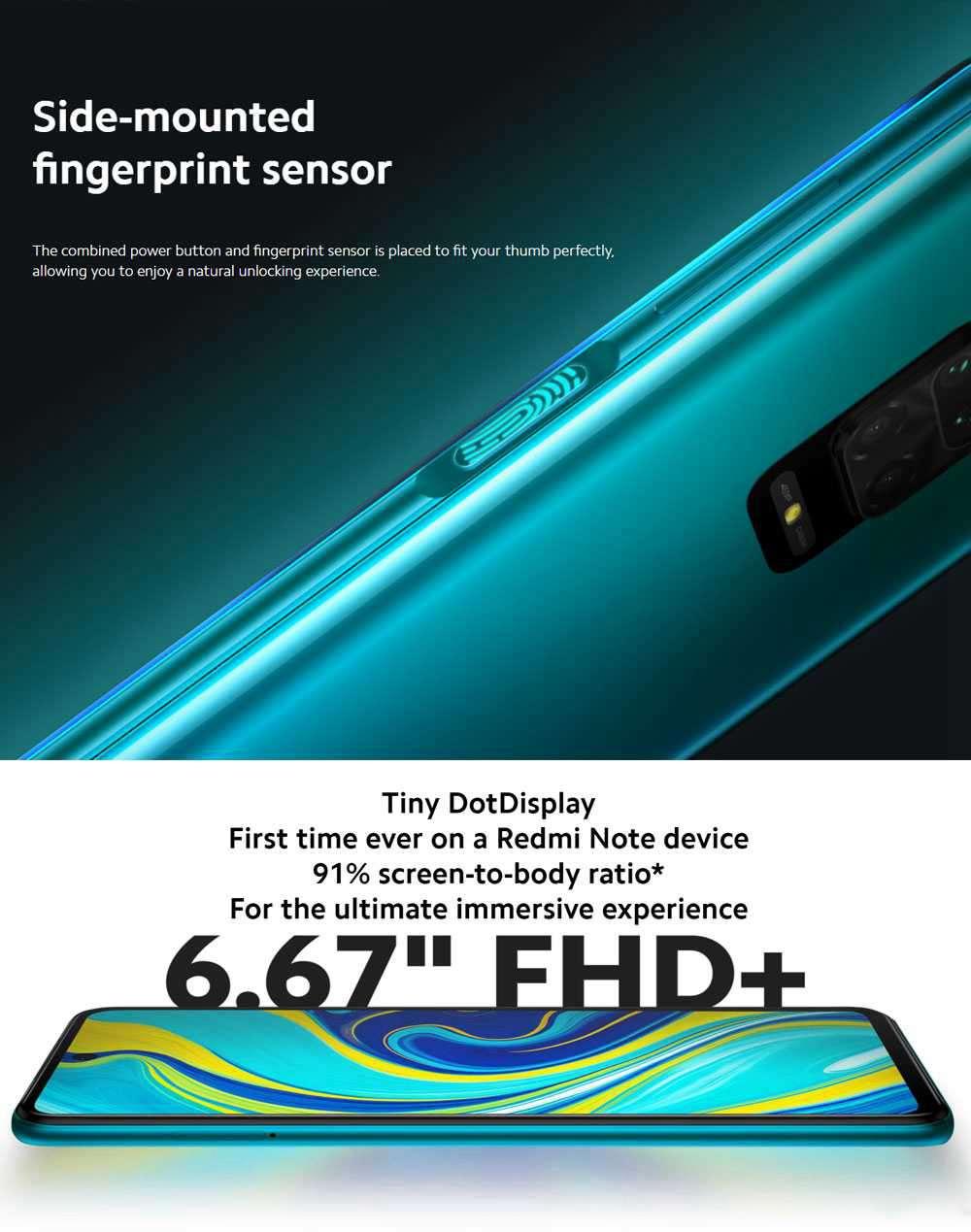 Xiaomi Redmi Note 9S 6.67 Inch 4G LTE Smartphone Qualcomm Snapdragon 720G 6GB RAM 128GB ROM Quad Rear Cameras Android 10.0 Dual SIM Dual Standby Global Version - Aurora Blue