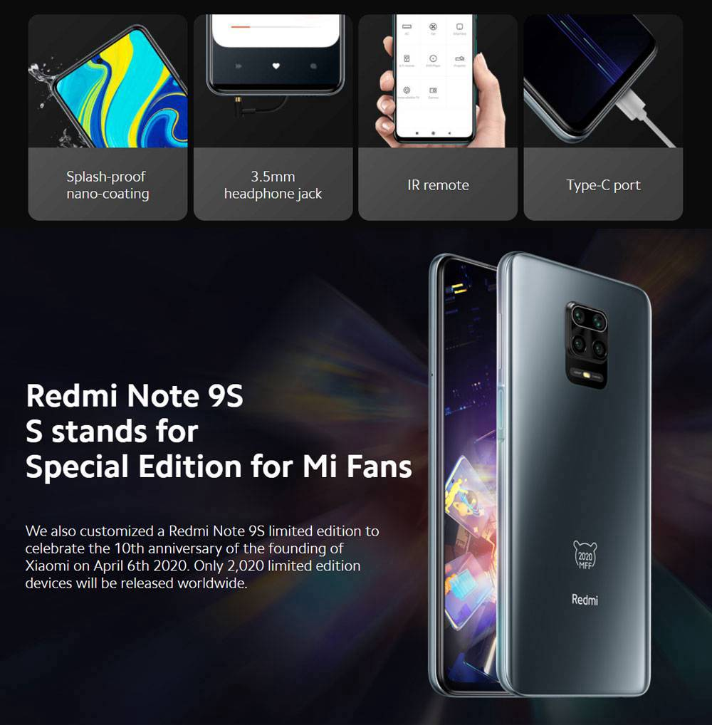 Xiaomi Redmi Note 9S 6.67 Inch 4G LTE Smartphone Qualcomm Snapdragon 720G 4GB RAM 64GB ROM Quad Rear Cameras Android 10.0 Dual SIM Dual Standby Global Version - Aurora Blue