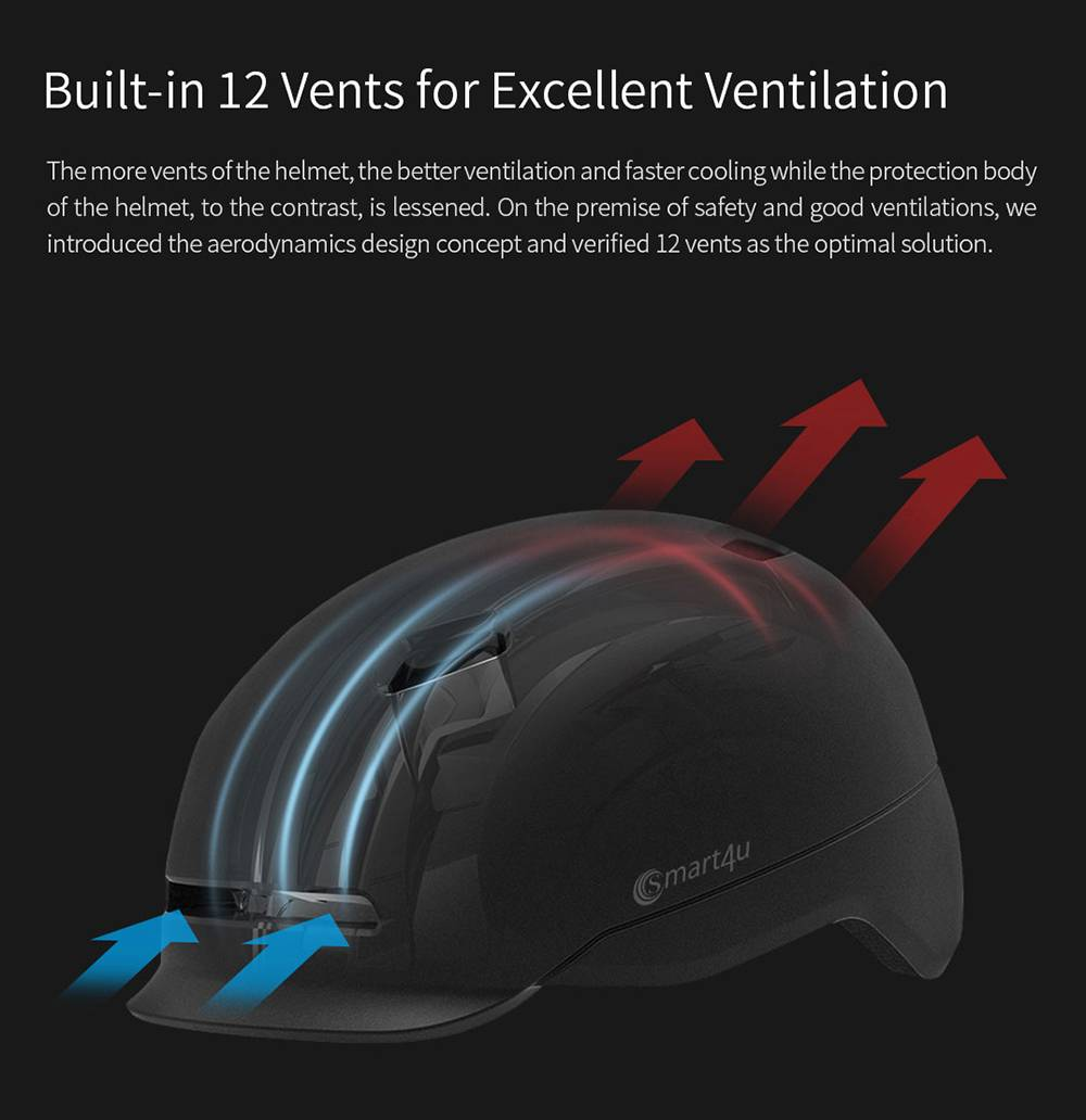 Xiaomi Smart4u SH50 Bicycle Smart Flash Helmet Automatic Light Perception Warning Light Long Battery Life IPX4 Waterproof Size L - Black