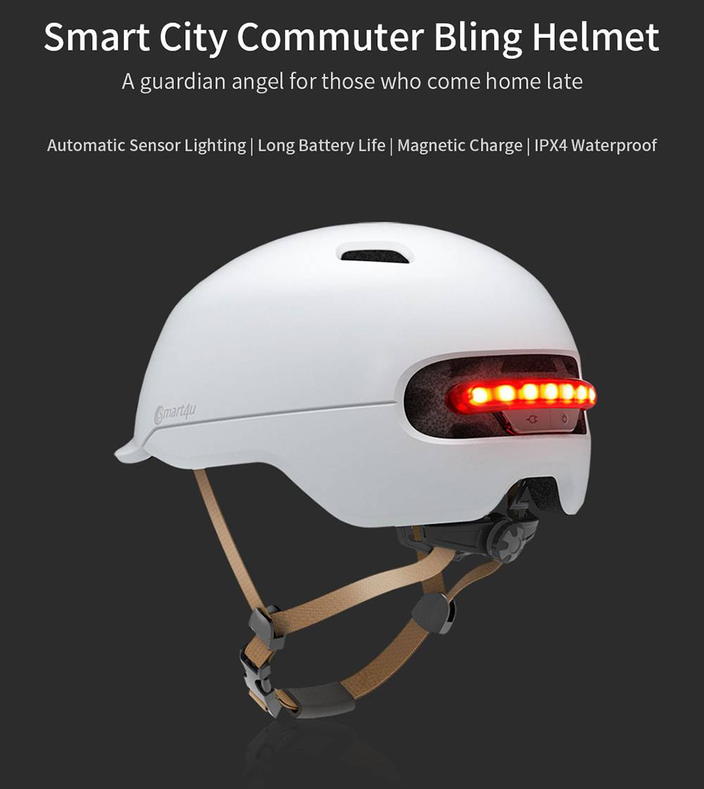 Xiaomi Smart4u SH50 Smart City Commuter Bling Helmet With Automatic Sensor Lighting IPX4 Waterproof Magnetic Charge Long Standby Size L - Black