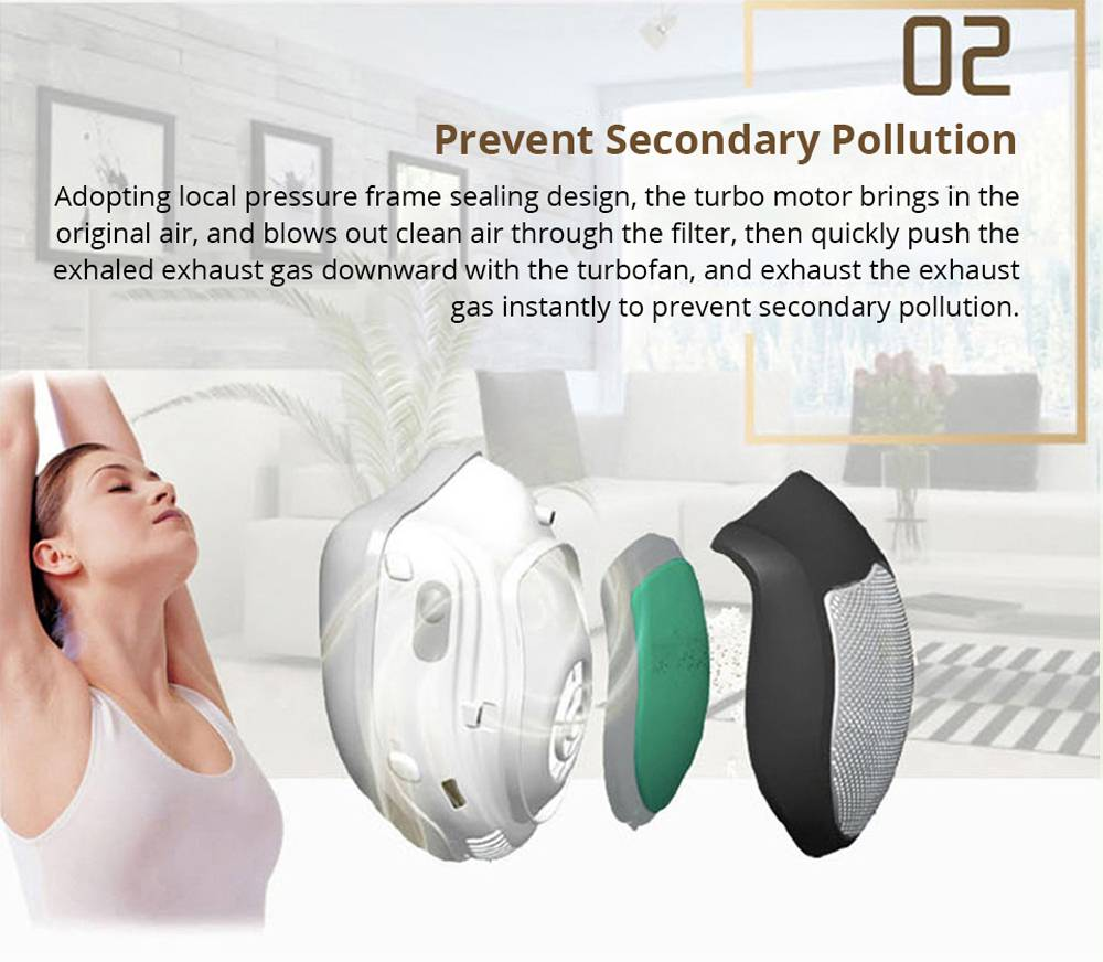 Q5 Reusable Smart Electrical Air Filter Mask For Anti Dust Pollution Smog Facemask - Pink