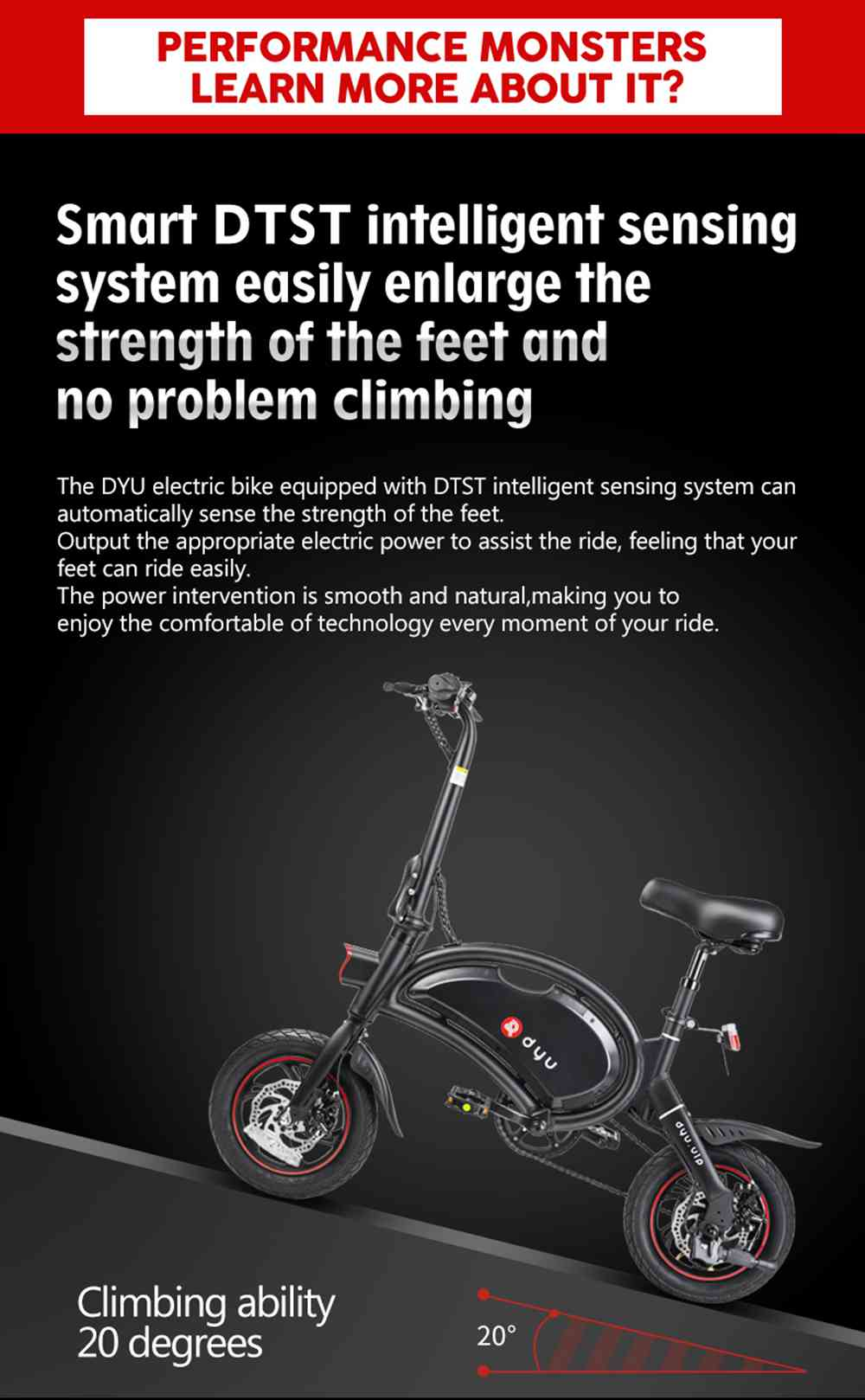 D3+ DYU Folding Moped Electric Bike 14 Inch Inflatable Rubber Tires 240W Motor Max Speed 25km/h Up To 45km Range Dual Disc Brakes Adjustable Height - Black
