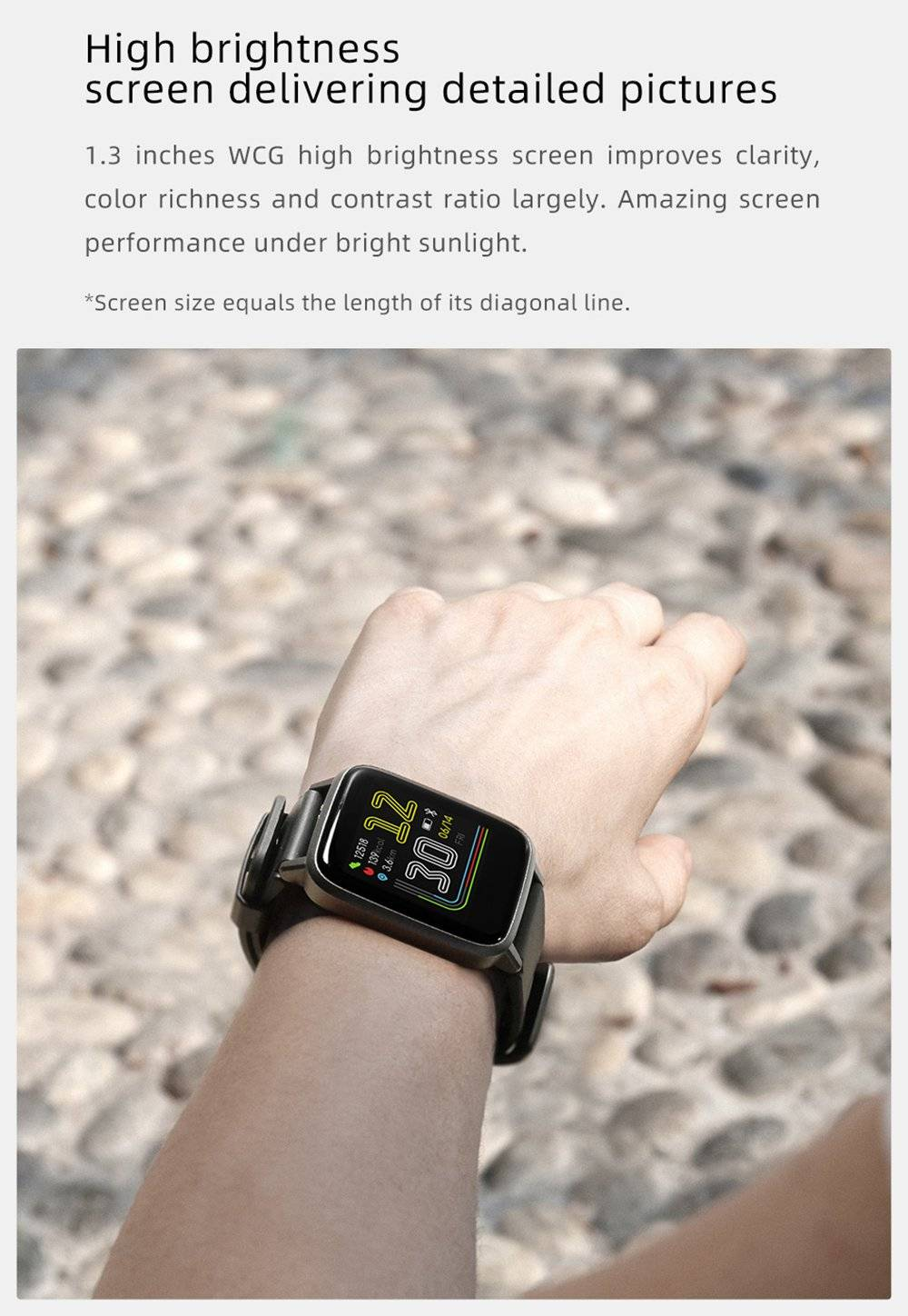 Haylou LS01 Smartwatch 1.3 Inch TFT Touch Screen IP68 Waterproof Heart Rate Sleep Monitor - White