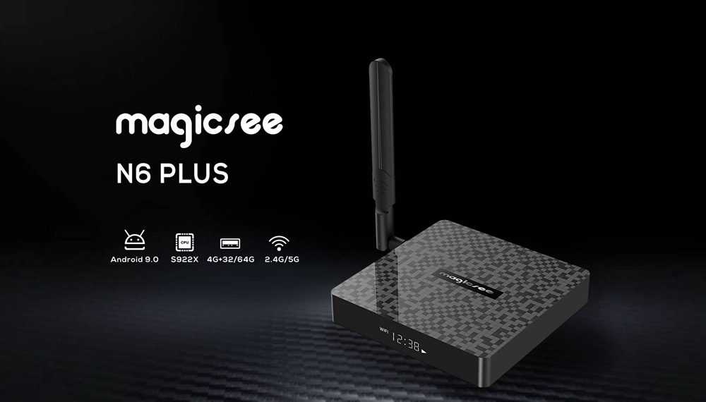 Magicsee N6 Plus Amlogic S922X 4GB DDR4 32G eMMC Android 9.0 TV BOX 2.4G+5G WIFI Bluetooth 1000M LAN USB3.0 Google Play Youtube - Black